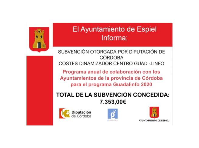 """INFORMACIÓN SUBVENCIÓN (DIPUTACIÓN) 2020 """"GUADALINFO"""""""