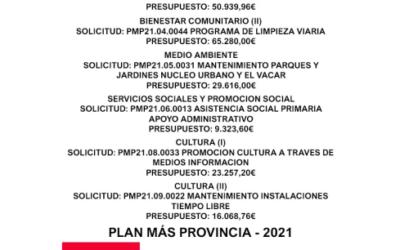 INFORMACIÓN SUBVENCIÓN (DIPUTACIÓN) «PLAN MÁS PROVINCIA 2021»