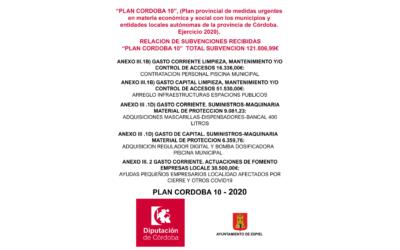 INFORMACIÓN SUBVENCIÓN (DIPUTACIÓN) «PLAN MÁS PROVINCIA 2020»